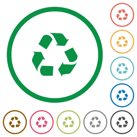 conservationist: Set of recycling color round outlined flat icons on white background Illustration
