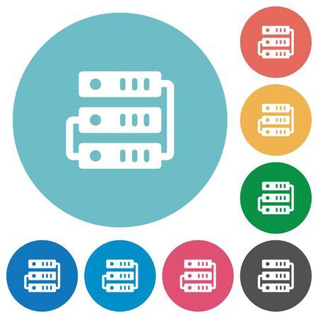 remote backup service: Flat servers icon set on round color background. Illustration