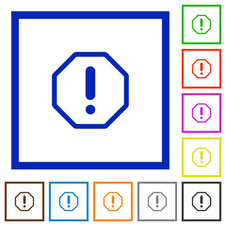 malfunction: Set of color square framed error flat icons on white background