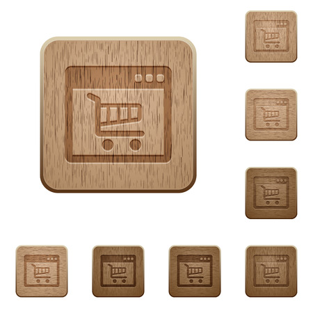 webshop: Set of carved wooden Webshop application buttons in 8 variations.