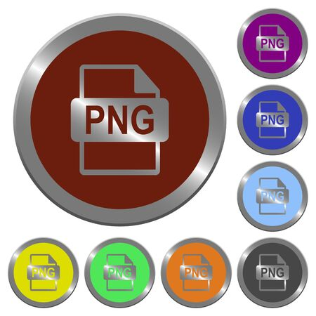 png: Set of color glossy coin-like PNG file format buttons.