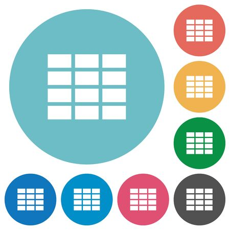formatting: Flat table icon set on round color background.