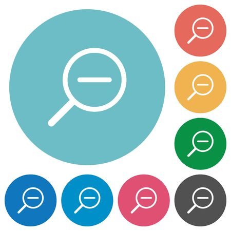 shrink: Flat zoom out icon set on round color background. Illustration