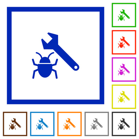 validating: Set of color square framed bug fixing flat icons on white background