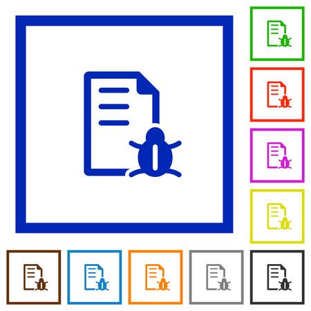 debugging: Set of color square framed Bug report flat icons on white background
