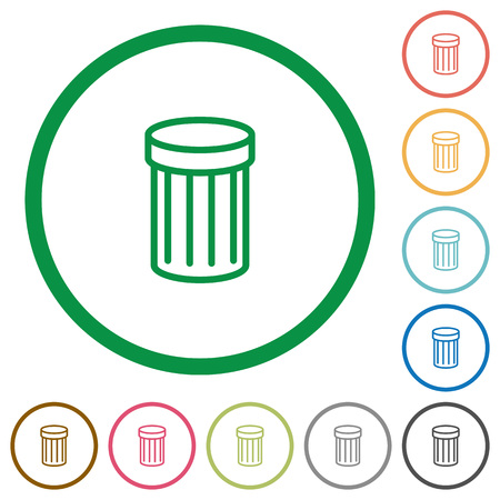 wastage: Set of trash color round outlined flat icons on white background Illustration