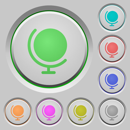 sunk: Set of color globe sunk push buttons.
