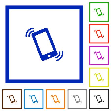 ringing phone: Set of color square framed Ringing phone flat icons on white background