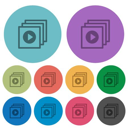 execute: Color play files flat icon set on round background.
