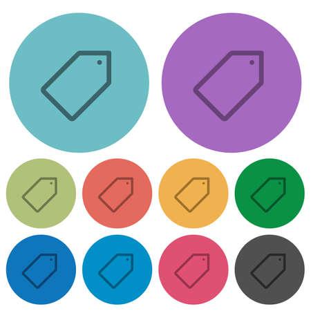keywording: Color tag flat icon set on round background.