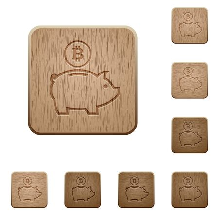 variations: Set of carved wooden Bitcoin piggy bank buttons in 8 variations.