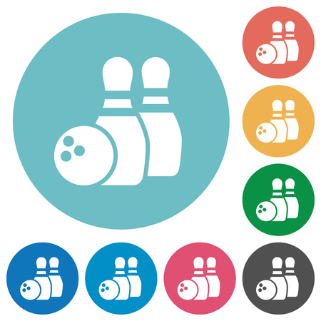 dexterity: Flat bowling game icon set on round color background.