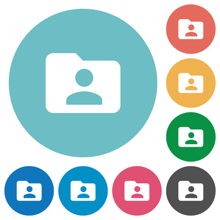 permissions: Flat folder owner icon set on round color background. Illustration