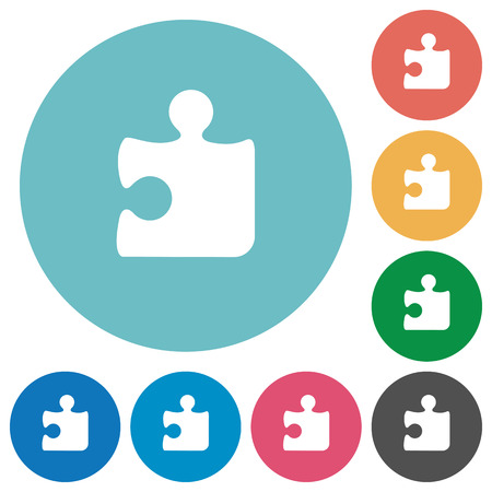 plugin: Flat puzzle icon set on round color background.