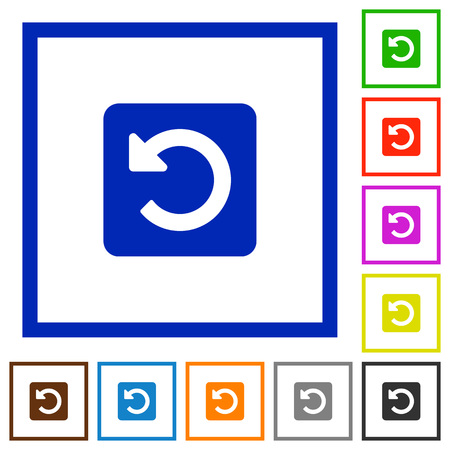 counterclockwise: Set of color square framed rotate left flat icons on white background Illustration