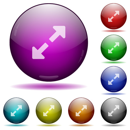 circular arrow: Set of color Resize full glass sphere buttons with shadows.
