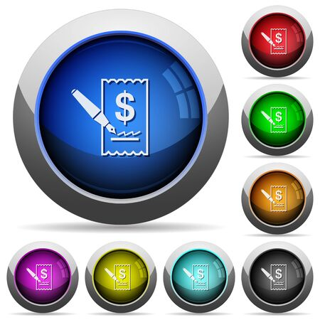 signing: Set of round glossy Cheque signing buttons. Arranged layer structure. Illustration