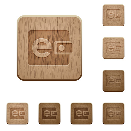 variations: Set of carved wooden e-wallet buttons in 8 variations.