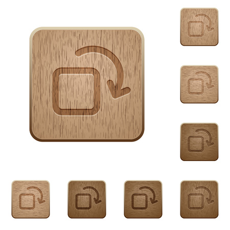 variations: Set of carved wooden Rotate element buttons in 8 variations.
