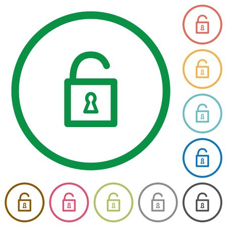 decrypt: Set of Unlocked padlock color round outlined flat icons on white background