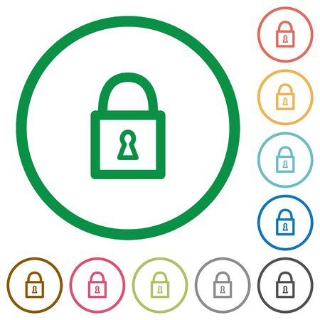 unaccessible: Set of Locked padlock color round outlined flat icons on white background