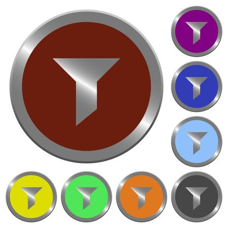 Set of color glossy coin-like filter buttons. Vector Illustration