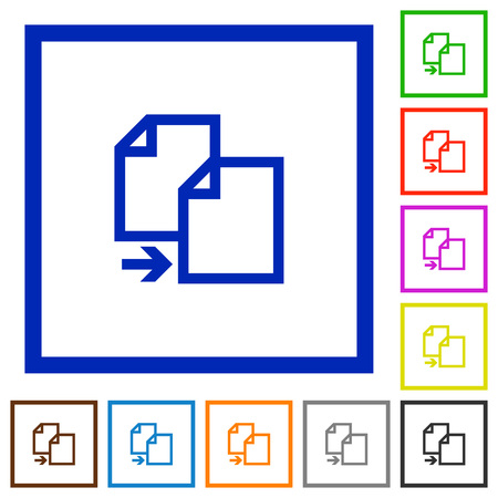 replica: Set of color square framed copy document flat icons on white background