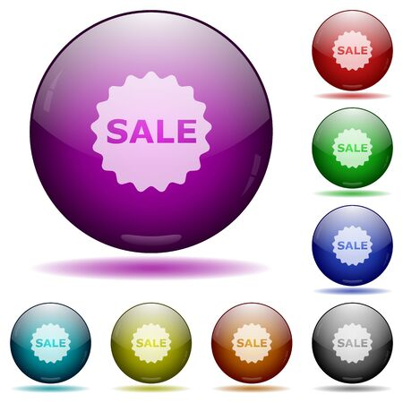 glass sphere: Set of color Sale badge glass sphere buttons with shadows.