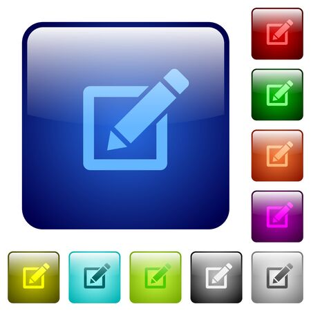 editor: Set of color editor glass web buttons. Illustration