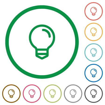 lighting button: Set of Light bulb color round outlined flat icons on white background