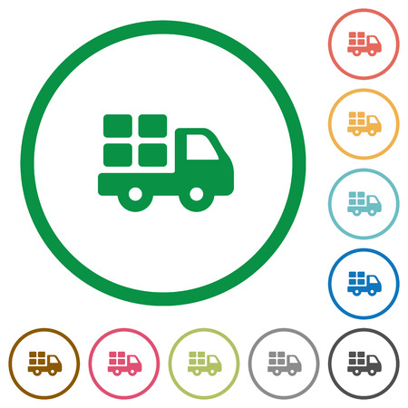 camion: Set of transport color round outlined flat icons on white background Illustration