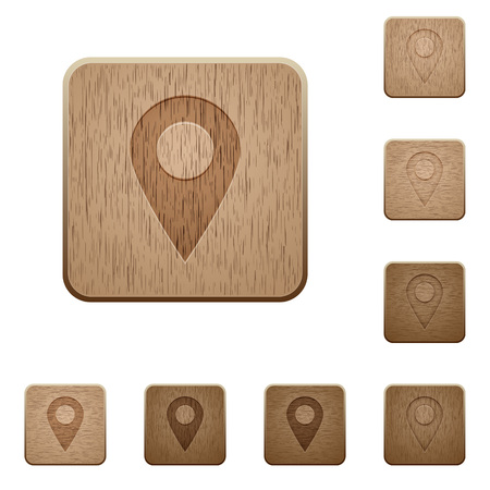 carved: Set of carved wooden Location pin buttons in 8 variations.