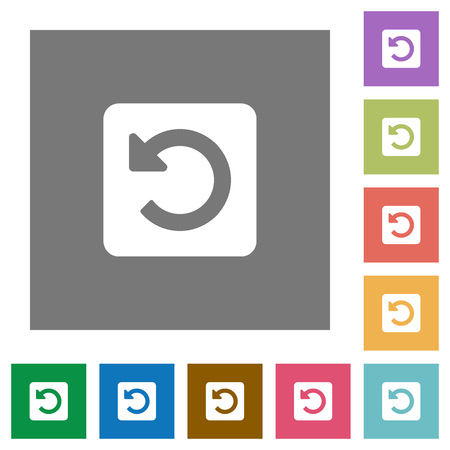 counterclockwise: Rotate left flat icon set on color square background.