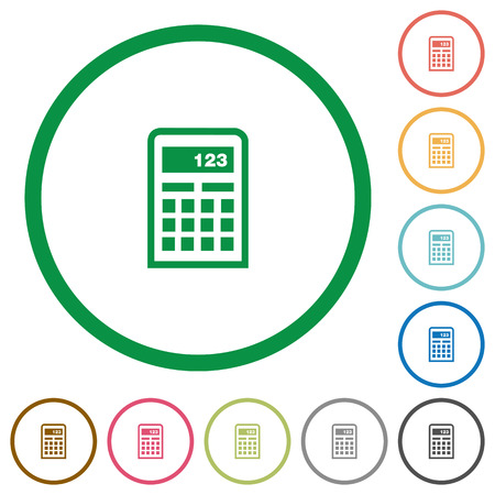 compute: Set of calculator color round outlined flat icons on white background