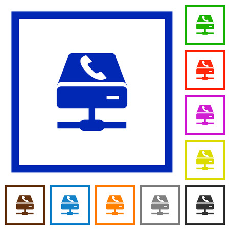 Set of color square framed VoIP call service flat icons on white background