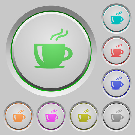 round button: Set of color cappuccino sunk push buttons. Illustration