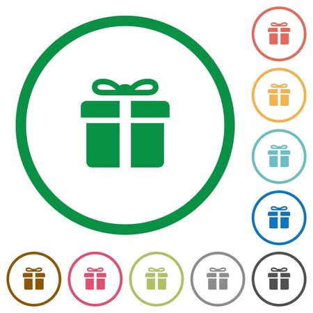 largess: Set of Gift box color round outlined flat icons on white background