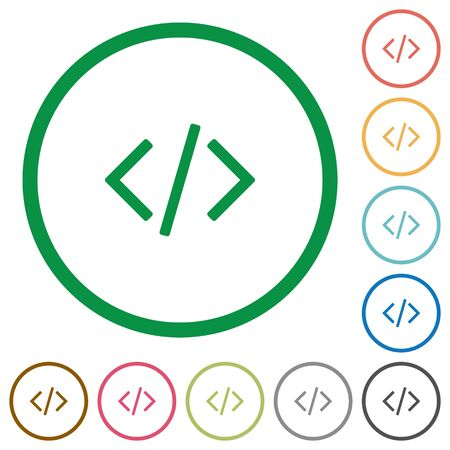 asp: Set of programming code color round outlined flat icons on white background