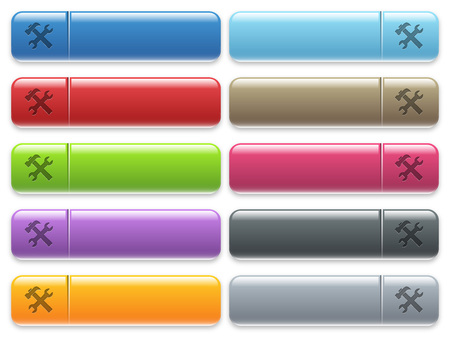 menu buttons: Set of tools glossy color menu buttons with engraved icons