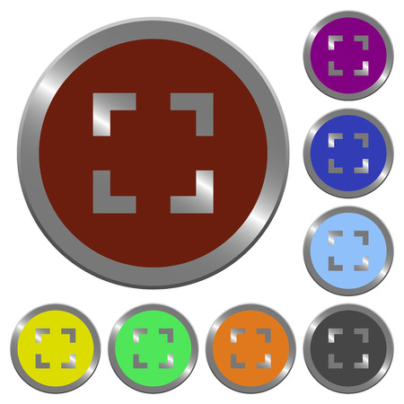 centering: Set of color glossy coin-like selector tool buttons. Illustration