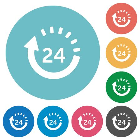 Flat 24 hour delivery icon set on round color background. Illustration