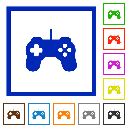 Set of color square framed Game controller flat icons on white background Illustration