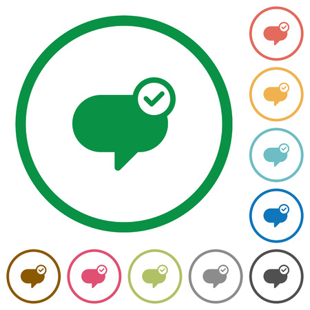 sent: Set of Message sent color round outlined flat icons on white background Illustration