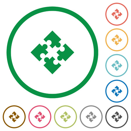 Set of modules color round outlined flat icons on white background Illustration
