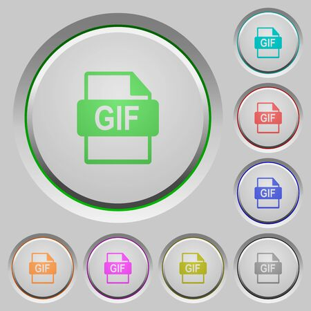gif: Set of color GIF file format sunk push buttons. Illustration