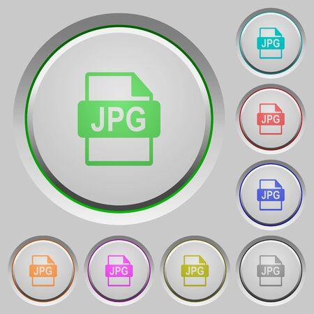 file format: Set of color JPG file format sunk push buttons.