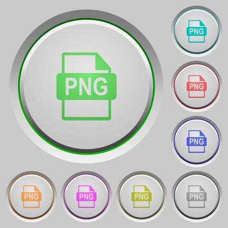 png: Set of color PNG file format sunk push buttons.