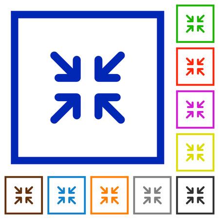minimize: Set of color square framed minimize flat icons on white background