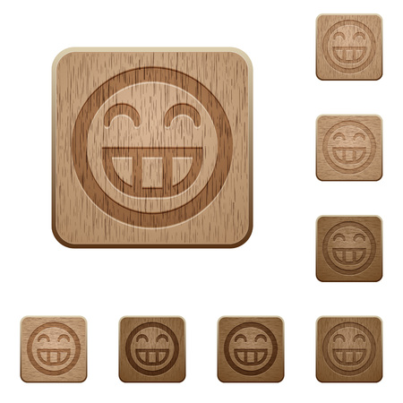 variations: Set of carved wooden Laughing emoticon buttons in 8 variations.