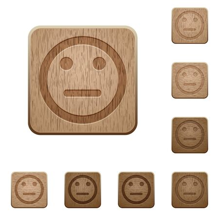 carved: Set of carved wooden Neutral emoticon buttons in 8 variations.